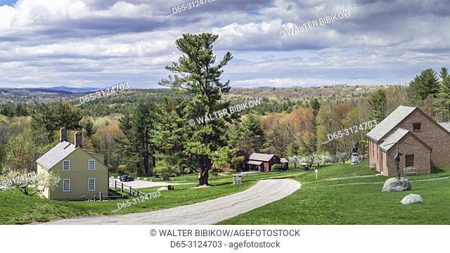 USA, New England, Massachusetts, Harvard, Fruitlands Museum, Shaker Building, Fruitlands Farmhouse, and Native American Museum, springtime