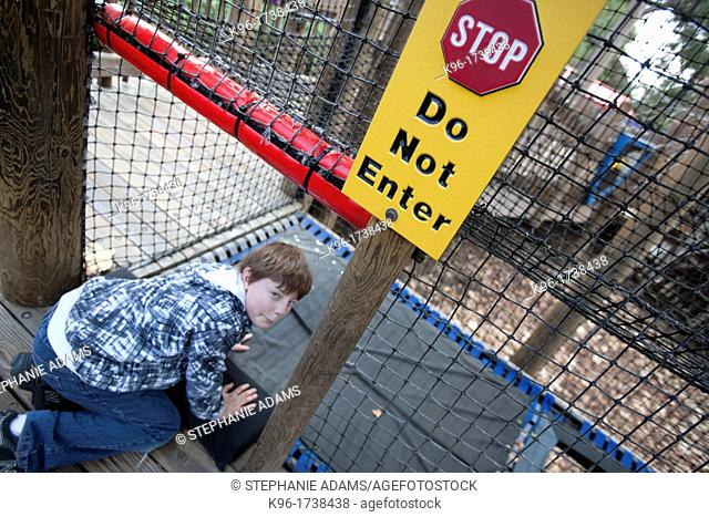 naughty child breaking the rules