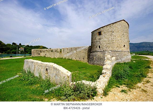 Triangular Venetian fortress at the Vivar canal, Butrint National Park, at Saranda, Qark Vlora, Albania