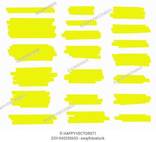 Creative vector illustration of stain strokes, hand drawn yellow highlight japan marker lines, brushes stripes isolated on transparent background
