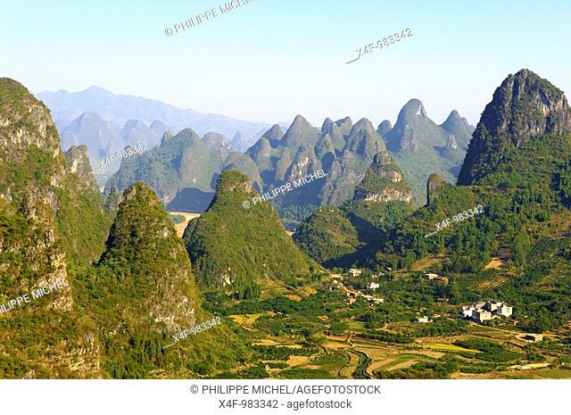 Karst peaks around Yangshuo, Guilin, Guangxi, China