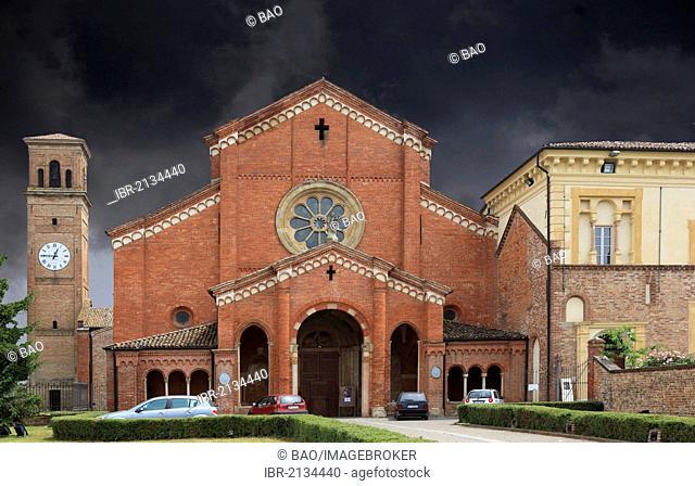 Storm clouds above the Abbazia Chiaravalle della Colomba, oldest Cistercian abbey in Italy, Emilia Romagna, Italy, Europe
