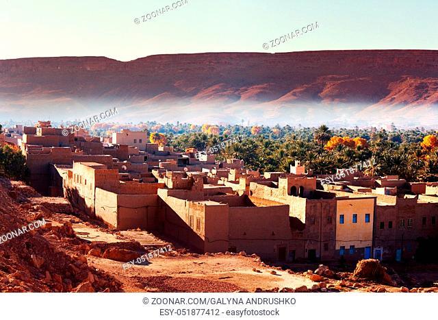 Kasbah in oasis, Morocco, Africa
