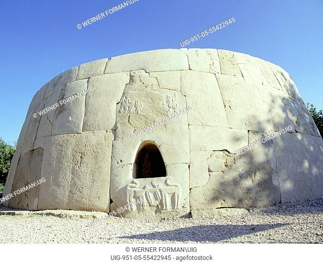 Northwest entrance of Hili tomb, a multiple grave within a pillbox-shaped structure of finely dressed stones