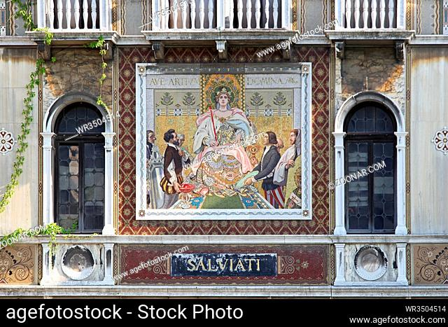 VENICE, ITALY - JULY 08, 2013: Murano Glass Mosaic at Family House Salviati Palace at Grand Canal in Venice, Italy