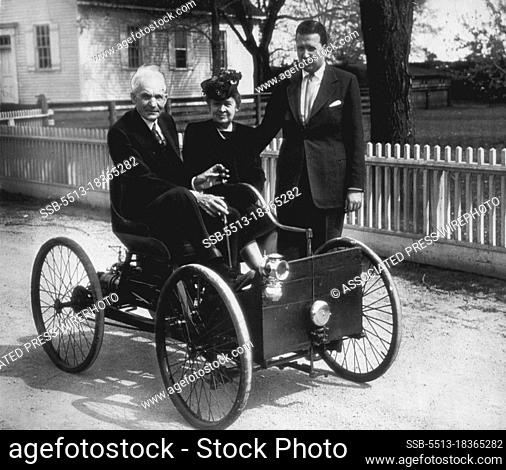 Ford Rides In His First Car -- Sitting in the first machine he built (in 1896) is Henry Ford founder of the Ford Motor Co