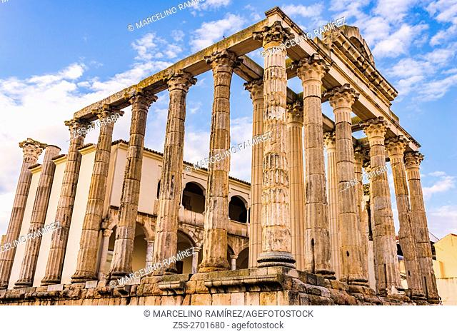Temple of Diana. This temple is a municipal building belonging to the city forum. Roman city of Emerita Augusta, capital of Lusitania, current Mérida, Badajoz