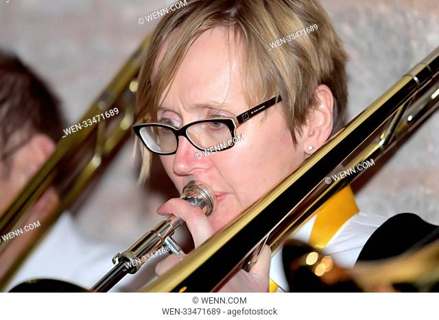 The Ledbury Community Brass Band play a fundraising Christmas concert, in aid of RETT UK, at St Gregory's Church in Castlemorton, Worcestershire