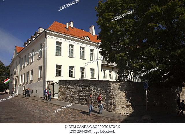 People in front of the Hungarian Embassy building on Toompea Hill in the old town, Tallinn, Estonia, Baltic States, Europe