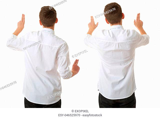 Set of cute teenager boy in white shirt and black bow tie working with virtual screen from back over white isolated background, half body