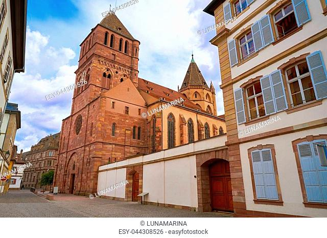 Strasbourg city Martin Luther street in Alsace France