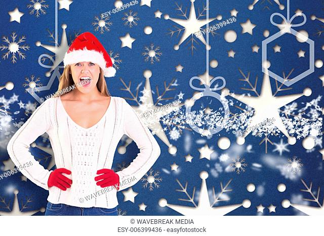 Composite image of festive blonde shouting at camera