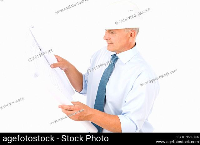 Senior professional architect male with helmet