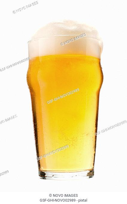 Glass of Lager Beer with Foam