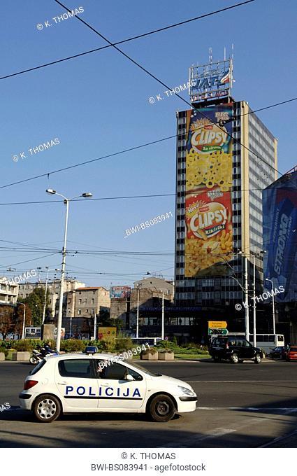 Beograd, police car, policija, Serbia-Montenegro, Belgrade