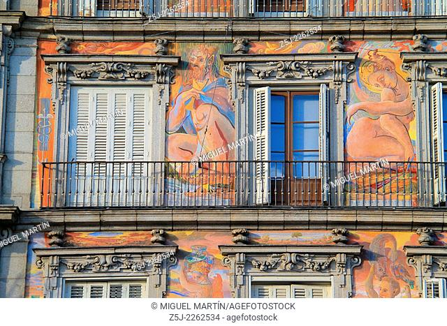 Detail of the frescos decorating Casa de la Panadería's façade in the Plaza Mayor of Madrid, painted by Madrilenian artist Carlos Franco in 1992 depicting some...