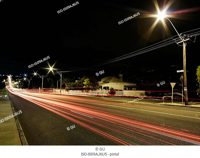 Tail light trails on highway at night, Fremantle, Western Australia