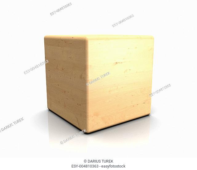 3D Holzwürfel abgerundet - Birke Apfelbirke