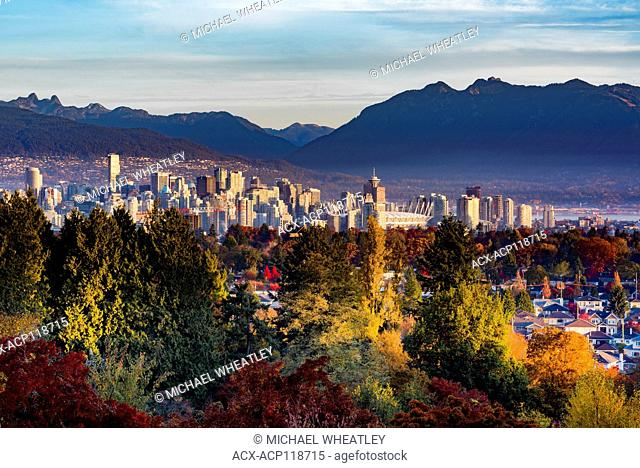 Vancouver skyline from Queen Elizabeth Park, the highest point in the city of Vancouver, British Columbia, Canada