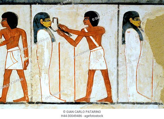 Luxor, Egypt, tomb of Menna or Menena (TT69) in the Nobles Tombs (Sheikh Abd El-Qurna necropolis): ceremony of the opening of the mouth