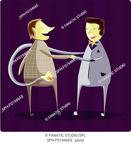 Businessman stealing money, illustration