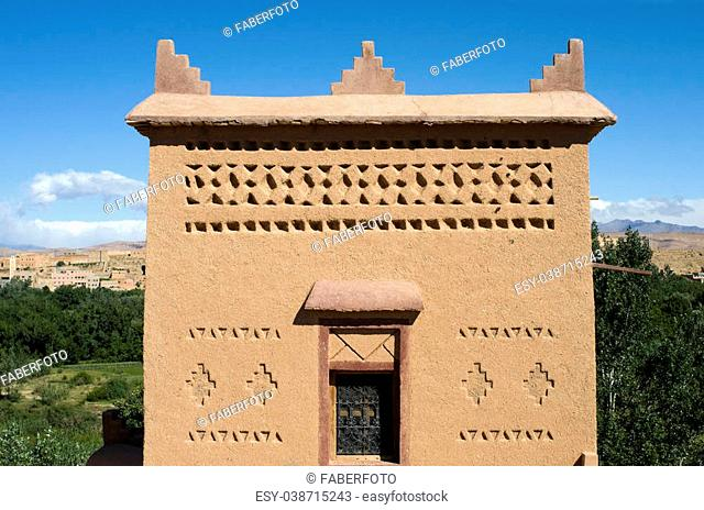 Detail of a typical Moroccan house built with straw and mud in the region of a thousand Kasbah near Ouarzazate. Best of Morocco
