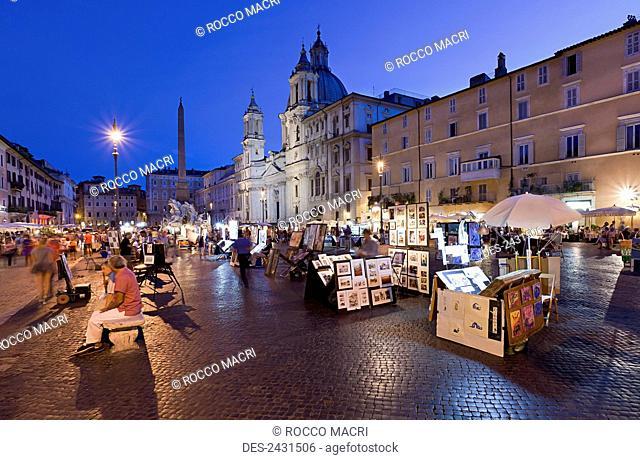 Piazza Navona at dusk; Rome, Italy
