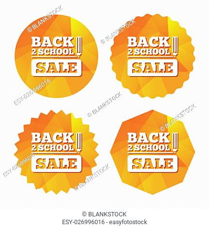 Back to school sign icon. Back 2 school pencil sale symbol. Triangular low poly buttons with flat icon. Vector