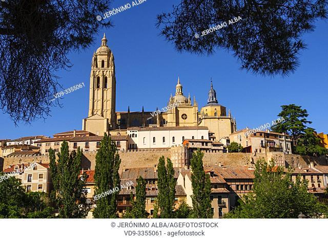 Exterior view. Late gothic architecture style, cathedral Santa Iglesia Catedral de Nuestra Señora de la Asunción y de San Frutos, Segovia city