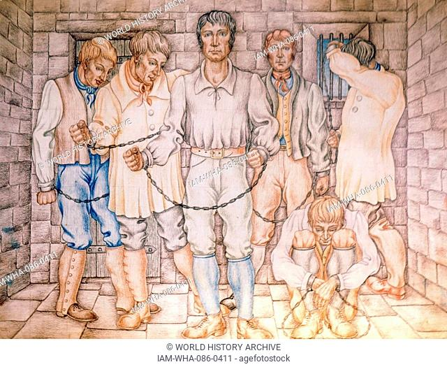 Illustration of the Tolpuddle Martyrs, a group of 19th Century Dorset agricultural labourers who were arrested for and convicted of swearing a secret oath as...