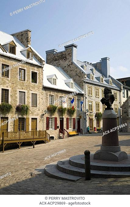 Louis the 14th Statue at Place Royale in the Lower Town area of Old Quebec City, Quebec, Canada