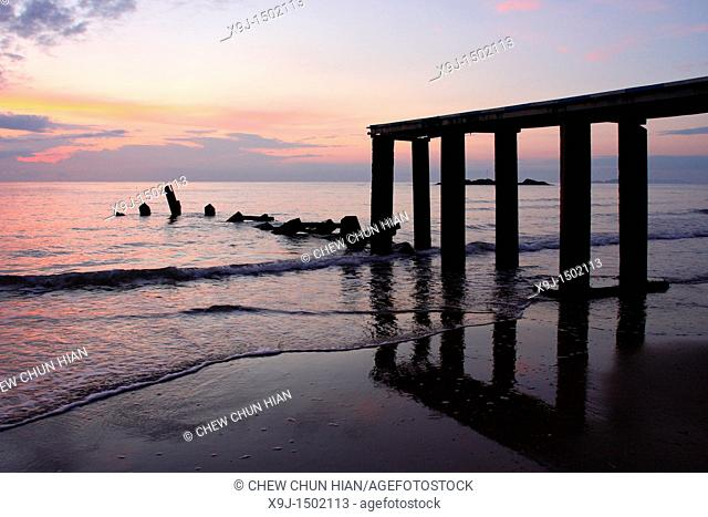 Pier at sunrise, Teluk Melano, Sarawak, Borneo