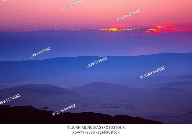 Sunset over the Ngorongoro crater, Tanzania