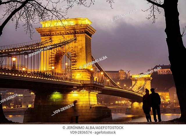 Chain Bridge over the Danube river in the evening, engineer William Tierny Clark. Budapest Hungary, Southeast Europe