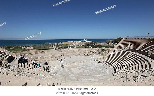 Exterior, HA, LS, Locked Down Shot, view of Caesarea Maritima. Seen is the Roman Theater facing the Mediterranean Sea. Seen are the auditorium with seats