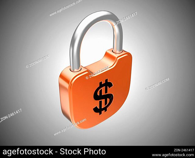 Locked lock: US dollar security currency concept. Over grey background