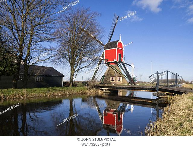 Windmill the Rooie Wip near the Dutch village Hazerswoude-Dorp