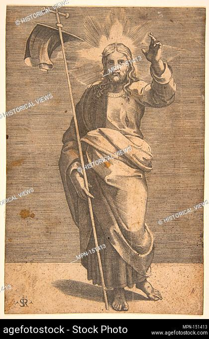 Christ standing facing forward, holding a cross with a banner and raising his left hand. Series/Portfolio: Christ and the Apostles; Artist: Marco Dente (Italian