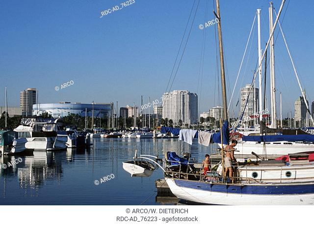 Boats in Yacht Harbour Long Beach Los Angeles California USA