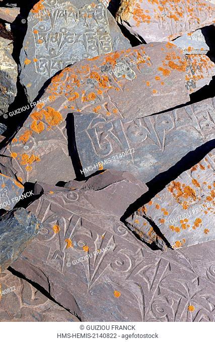 Nepal, Gandaki zone, Manaslu Circuit, between Samdo and Dharamsala, stones engraved with Buddhist sacred formulas or mani stones