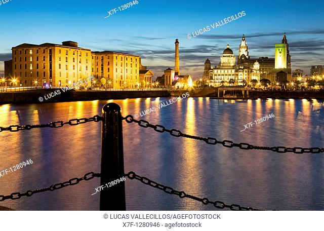 Salthouse Dock  To the right the three graces of Pier Head the Royal Liver Building, The Cunard Building and the Port of Liverpool Building  To the left Albert...