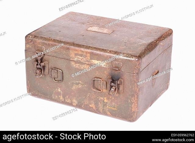 Old rusted green army case, isolated on white