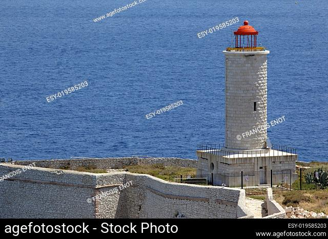 Stone lighthouse in island near Marseille