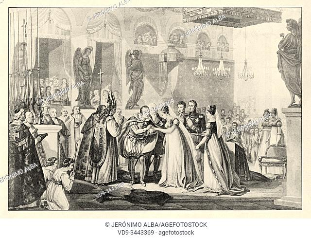 Wedding of the Duke of Berry and Marie-Caroline of Naples, June 17, 1816. History of France, old engraved illustration image from the book Histoire...