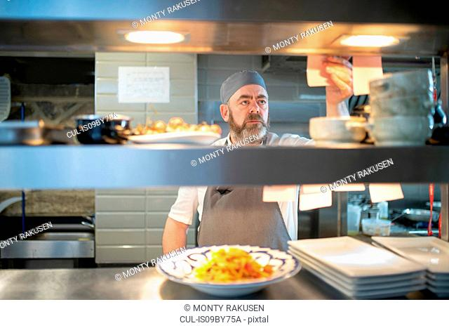 Chef reading order in Italian restaurant kitchen
