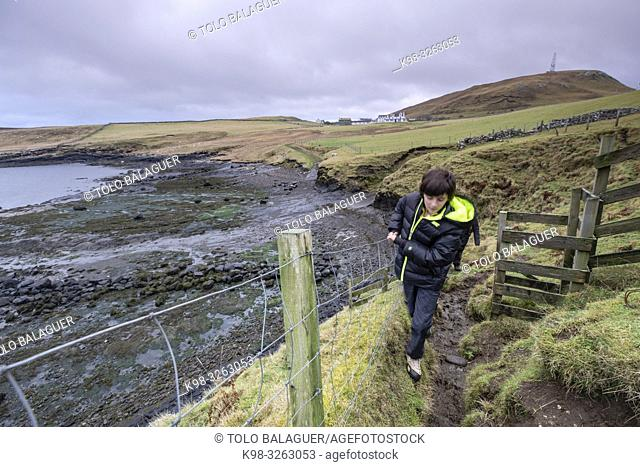 Path to Duntulm Castle, North Trotternish Coast, Isle of Skye, Highlands, Scotland, United Kingdom