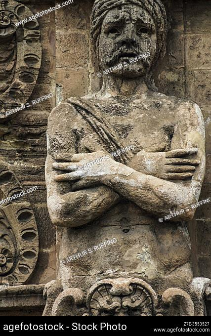 """Detail of one of the """"""""Captive Moor"""""""" telamon sculptures on façade of the New Gate (Porta Nuova) as viewed from Independence Square (Piazza Indipendenza/Via..."""