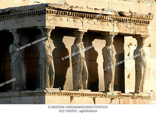 The southern balcony of the Erechtheion with the famous Caryatids