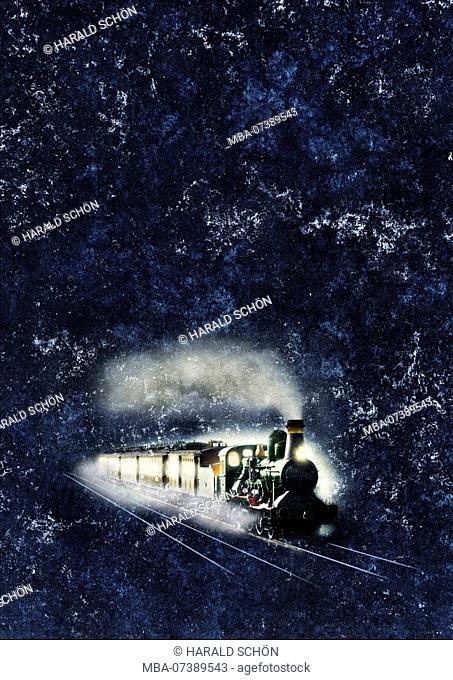 Locomotive, Train, Night, Retouched, Graphic, RailArt, [M]