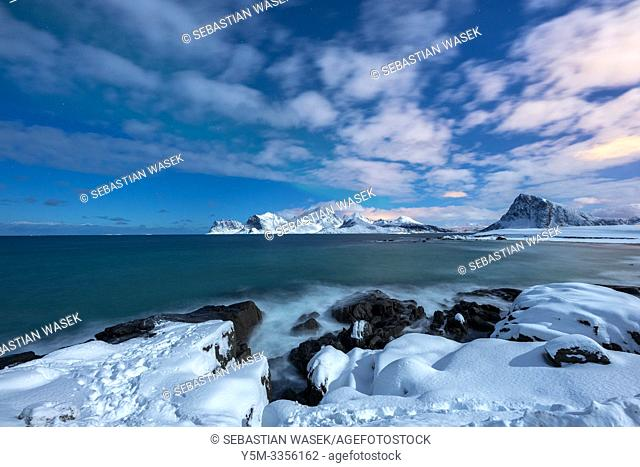 Storsandnes Beach in Moonlight, Myrland, Leknes, Lofoten, Norway, Europe